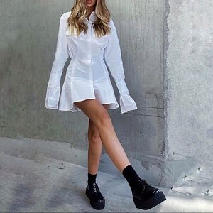 Lioness Cover Girl White Long Sleeve Mini Dress XS